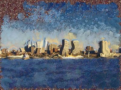 Skylines Mixed Media - Less Wacky Philly Skyline by Trish Tritz