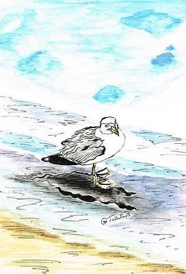 Mixed Media - Lesser Black-backed Gull  by Teresa White