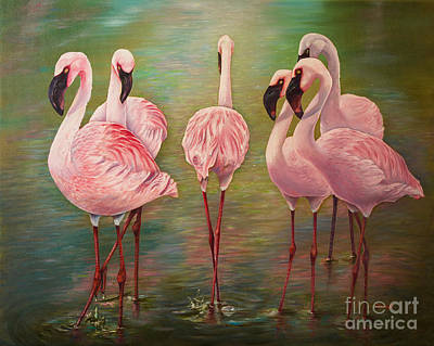 Flamingo Painting - Lesser Flamingos by Zina Stromberg