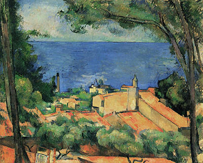 Painting - L'estaque With Red Roofs by Paul Cezanne