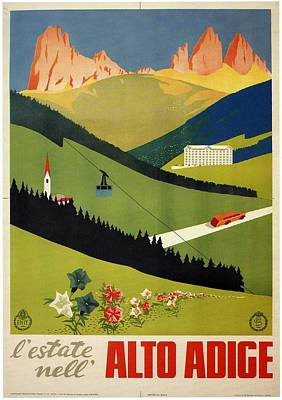 Royalty-Free and Rights-Managed Images - Lestate nell Alto Adige, Italy - Retro travel Poster - Vintage Poster by Studio Grafiikka