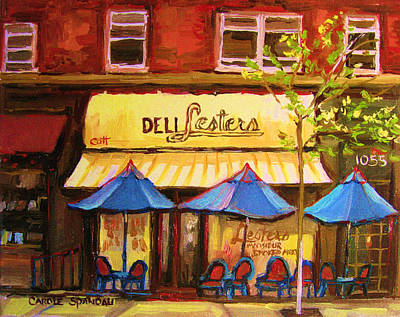 Streets Of Quebec Painting - Lesters Cafe by Carole Spandau