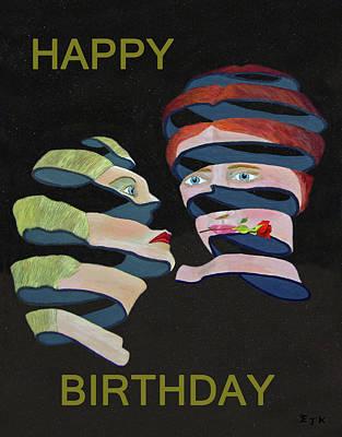 Mixed Media - Lesvos Rose Happy Birthday by Eric Kempson