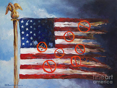 Ten Commandments Painting - Let Freedom Reign? by Deborah Smith