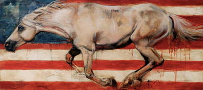 Wild Horse Painting - Let Freedom Run by Mary Leslie