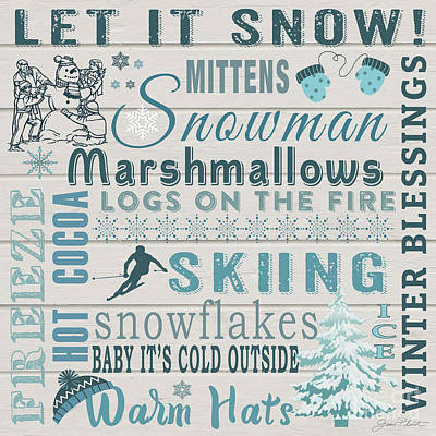 Print featuring the digital art Let It Snow by Jean Plout