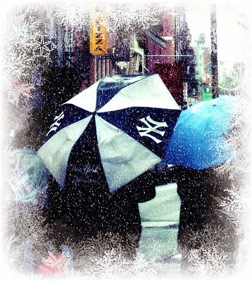 Photograph - Let It Snow - Let It Snow - Let It Snow  - Ny Yankees Spirit In Greenwich Village by Miriam Danar