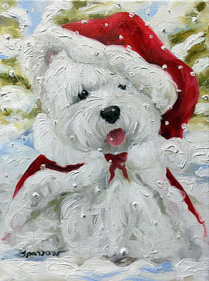 Westie Painting - Let It Snow by Mary Sparrow