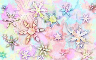 Let It Snow - Pastel Vintage Snowflakes Abstract Art Print