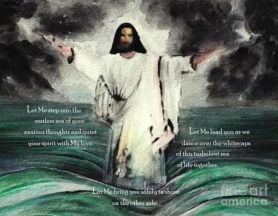 Jesus Walking On Water Painting - Let Me Quiet Your Spirit With My Love by Hazel Holland