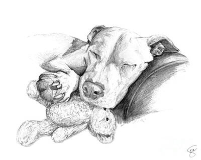 Staffordshire Bull Terrier Digital Art - Let Sleeping Dogs Lie by Stacey May
