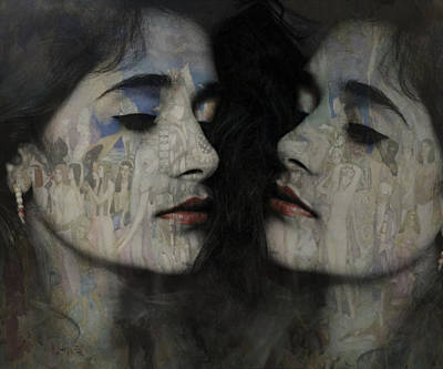 Girl Mixed Media - Let The Dream Begin Let Your Darker Side Give In  by Paul Lovering