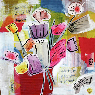 Watering Can Mixed Media - Let Your Garden Grow by Kristy Lankford