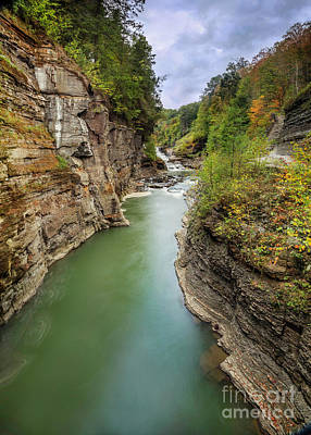 Photograph - Letchworth Lower Falls And Gorge by Karen Jorstad