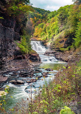 Photograph - Letchworth Lower Falls In Autumn by Karen Jorstad