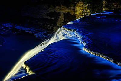 Photograph - Letchworth Middle Falls After Dark by Chris Bordeleau