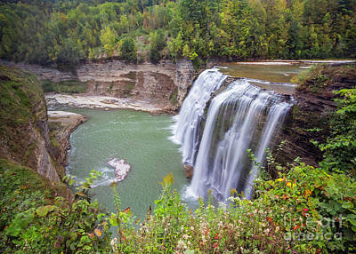 Photograph - Letchworth Middle Falls And Gorge In Early Autumn by Karen Jorstad