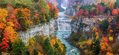 Waterfalls Photograph - Letchworth Middle Falls In Fall by Mark Papke