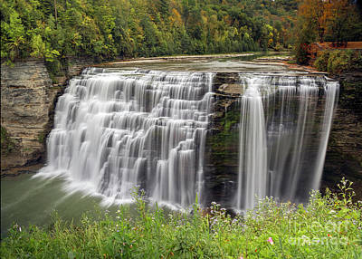 Photograph - Letchworth Middle Falls In Early Autumn by Karen Jorstad