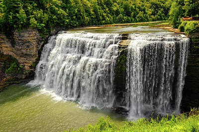 Photograph - Letchworth State Park Middle Falls  -  Middlefallsletchworthpark172348. by Frank J Benz