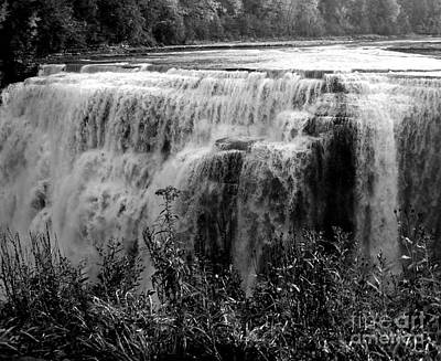 Photograph - Letchworth State Park Middle Falls In Black And White by Rose Santuci-Sofranko