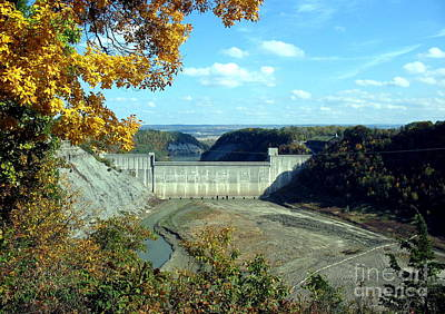Photograph - Letchworth State Park Mount Morris Dam Autumn Drought by Rose Santuci-Sofranko