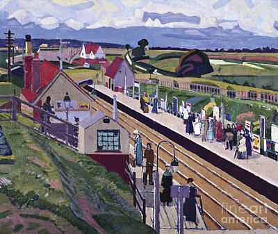 Railway Station Painting - Letchworth Station by MotionAge Designs
