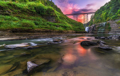 Photograph - Letchworth Upper Falls At Dusk by Mark Papke