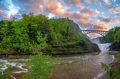 Photograph - Letchworth Upper Falls - Crop by Mark Papke