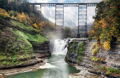 Fall Foliage New York Wall Art - Photograph - Letchworth Upper Falls by Peter Chilelli