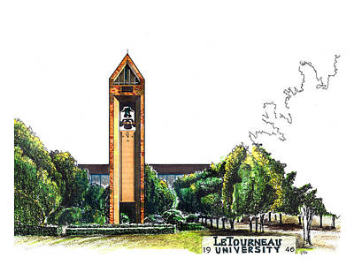 Campus Illustrations Drawing - Letourneau University Bell Tower by Yang Luo-Branch