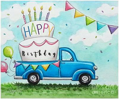 Painting - Let's Eat Cake In The Back Of A Pickup by Elizabeth Robinette Tyndall