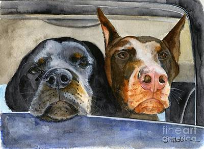Rottweiler Wall Art - Painting - Let's Go For A Ride by Sheryl Heatherly Hawkins