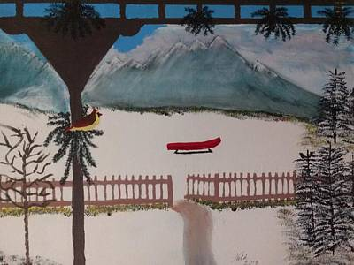 Back Porch Painting - Let's Go For A Sleigh Ride by Noka Stoeckley