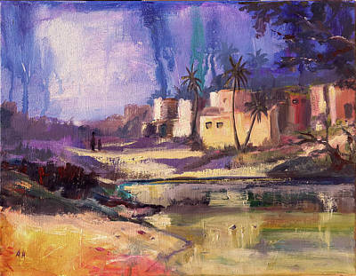 Four Seasons Tree Nature Summer Painting - Let's Go Home by Amani Al Hajeri
