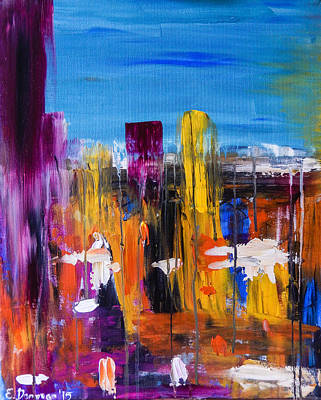 Painting - Let's Go Out On A Rainy Day Abstract Cityscape by Eliza Donovan