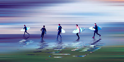 Surfers Mixed Media - Lets Go Surf 2 by Sharon Lisa Clarke