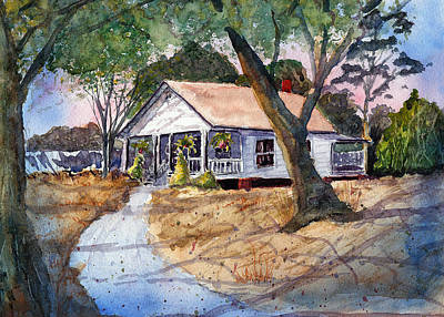 Impressionistic Landscape Drawing - Let's Go To Grandma's - Watercolor by Barry Jones