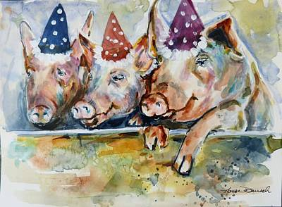 Painting - Let's Have A Piggy Party by P Maure Bausch
