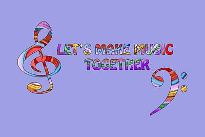 Digital Art - Let's Make Music Together - Lavender by Gill Billington