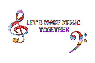 Digital Art - Let's Make Music Together - White by Gill Billington