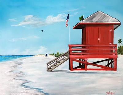 Let's Meet At The Red Lifeguard Shack Art Print