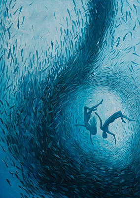 Scuba Painting - Let's Never Stop Falling In Love by Adrian Borda
