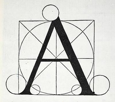 Divine Drawing - Letter A by Leonardo Da Vinci