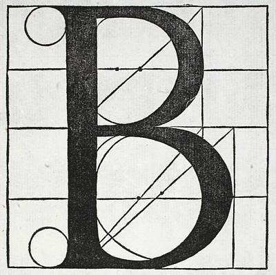 Divine Drawing - Letter B by Leonardo Da Vinci