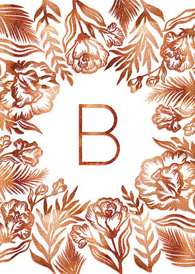 Digital Art - Letter B - Rose Gold Glitter Flowers by Ekaterina Chernova