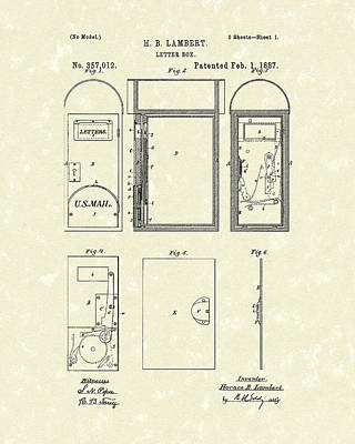 Box Drawing - Letter Box 1887 Patent Art by Prior Art Design