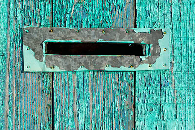 Photograph - Letter Box On Blue Wood by John Williams