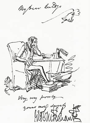 Caricaturist Drawing - Letter By George Cruikshank by Vintage Design Pics