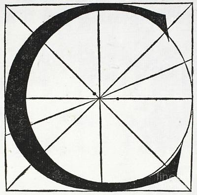 Divine Drawing - Letter C by Leonardo Da Vinci